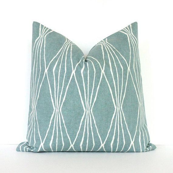 Powder Blue Decorative Pillows : Powder Blue Geometric Decorative Designer Pillow Cover Accent Throw Cushion modern diamonds ...