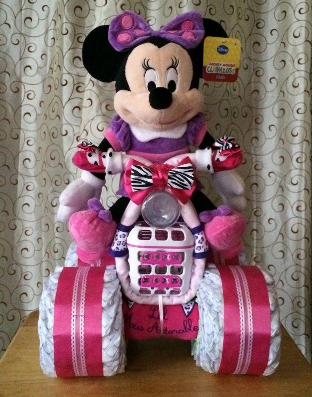 Minnie Mouse Diaper Bike, Diaper Cakes
