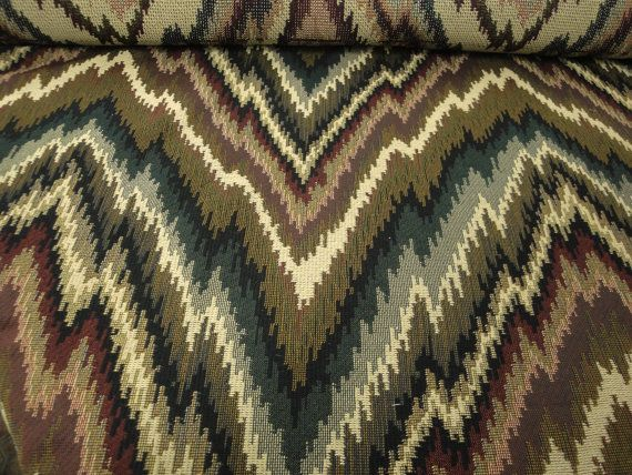 """54"""" Wide Optical Illusion Cotton Blend Upholstery Fabric Zig Zags Vintage Tapestry Fabric Southwestern Fabric Headboard Kilim ST"""