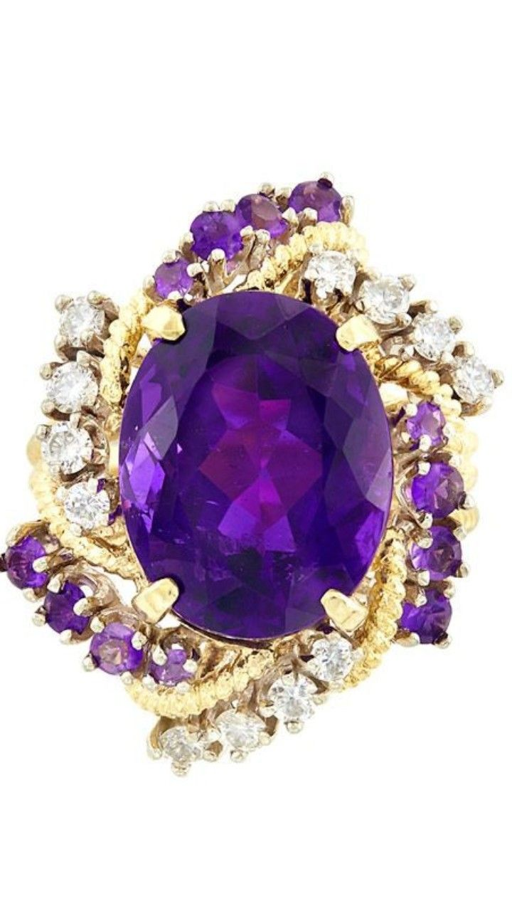 Gold, Amethyst and Diamond Ring One oval Amethyst ap. 9.00 cts., 12 round Diamonds ap. .55 ct., ap. 8.7 dwts. Size 7 1/2. •Sold for $937,00 |Doyle Auction House