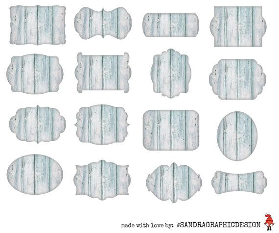 Wood labels clipart with 16 light blue by SandraGraphicDesign