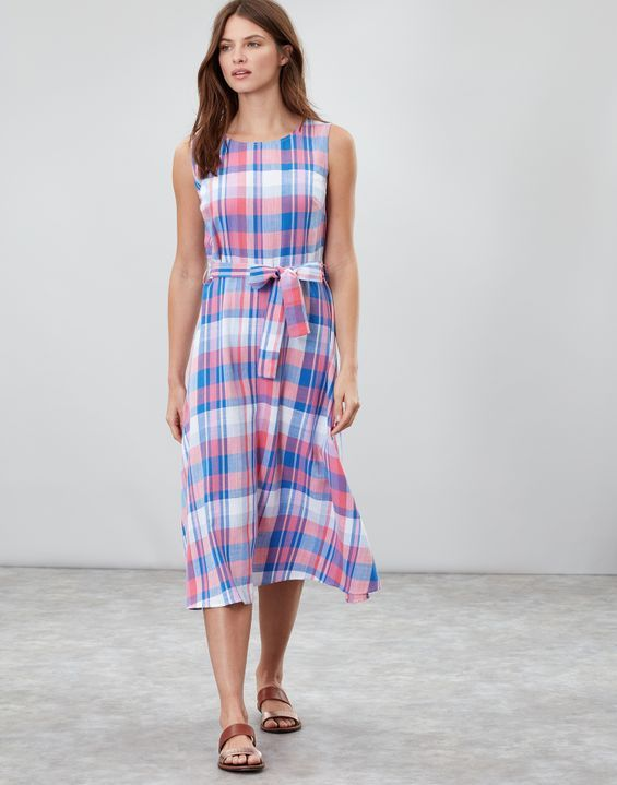 Fiona Sleeveless Woven Dress With Tie Detail   Woven dress