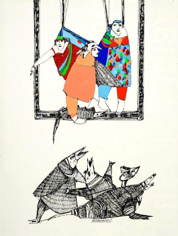 Armanda Passos Sem Título - 146)10 Chinese Ink and gouache x Paper 40 cm x 30 cm #ArmandaPassos #Gouache #Ink #Painting #Drawing #Color #Artwork #SãoMamedeArtGallery #Portugal #Lisbon #Art