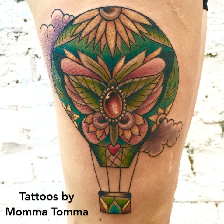 Hot air balloon with butterfly and gem tattoo by Momma Tomma
