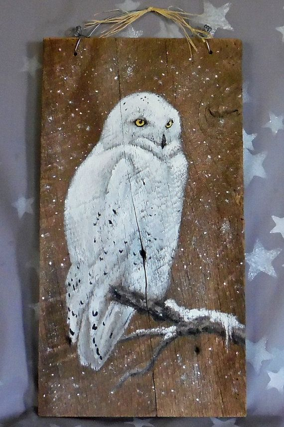 Snowy Owl authentic barnwood rustic hand painted 7 by SuzysSantas