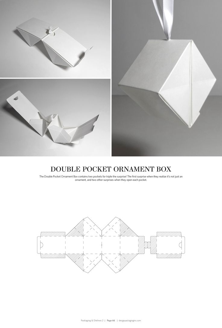 Double Pocket Ornament Box – structural packaging design dielines