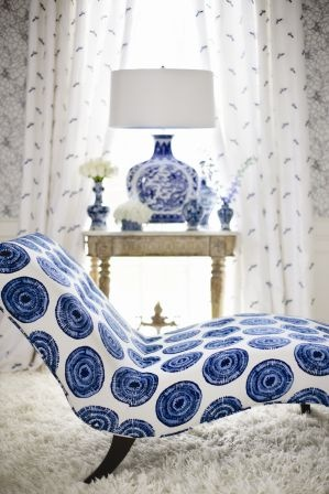 love blue and white circle fabric on chaise: 1021D Whirling by Stroheim