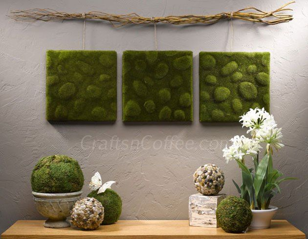 Very cool wall art, made with moss sheets wrapped around squares of Styrofoam brand foam. CraftsnCoffee.com