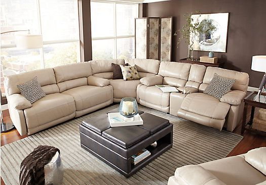 picture of Cindy Crawford Home Auburn Hills Taupe Leather 3 Pc Reclining Sectional from Leather Sectionals Furniture