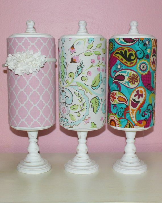 Fabric Covered Headband Holder and Storage Container