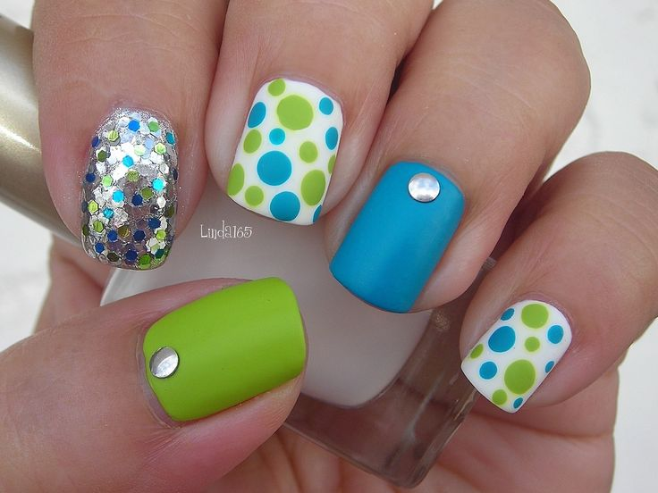 Blinged Out Blue, Green  White Nail Polish Matte Dotticure - Tutorial here