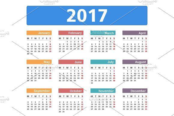 2017 Calendar by PixMarket on @creativemarket
