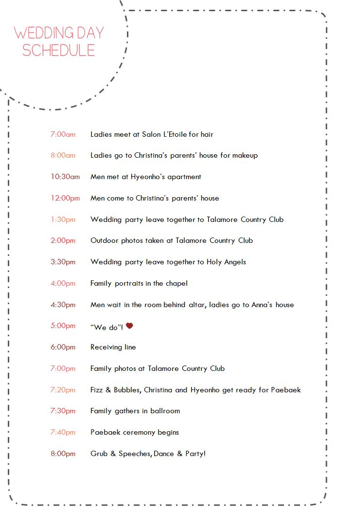 25+ parasta ideaa Pinterestissä Wedding day schedule - wedding timeline template