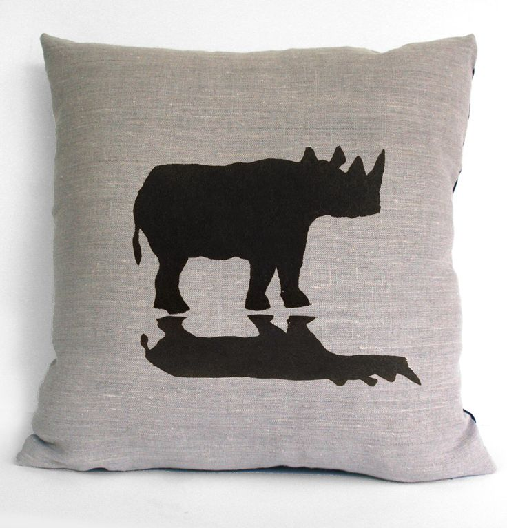 Rhinoceros & Shadow Silhouette Hand Screen Printed Pure Linen Cushion COVER by animalsandbirds on Etsy