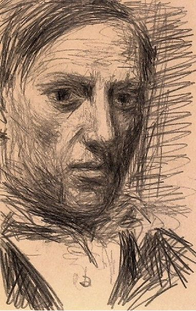 Self portrait by Pablo Picasso,( 1940 ?), pencil on paper, Museum Ludwig, Cologne. Picasso, known for Cubism, in a non-cube-y self portrait.
