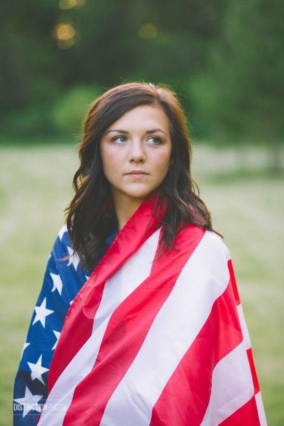 American flag senior pictures