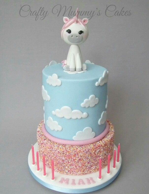 Two-tier cloud sprinkles unicorn cake by Crafty Mummy's ...