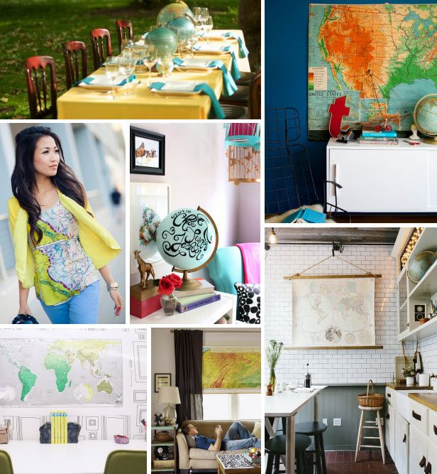 Mood Board Monday: Maps (http://blog.hgtv.com/design/2014/08/18/mood-board-monday-maps/?soc=pinterest)