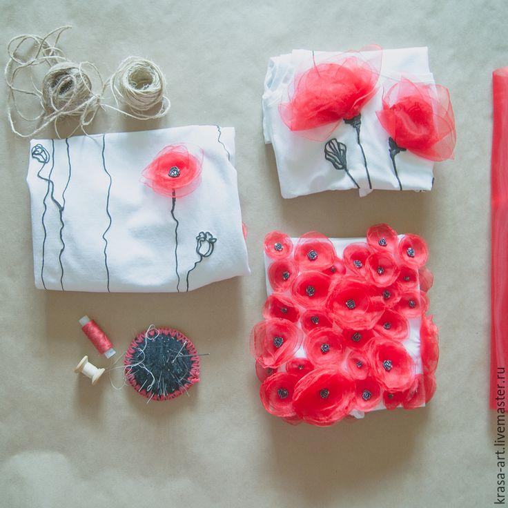 Купить Маки - белый, цветочный, маки, Аппликация, аппликация из ткани, аппликация для одежды, цветы из ткани