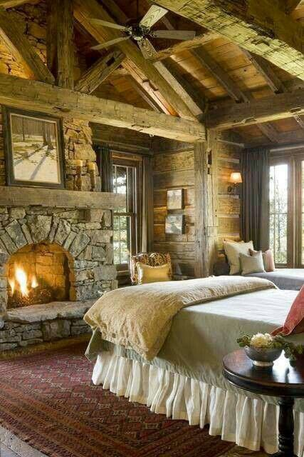 Cabin life - fireplace, rough beams, lots of light