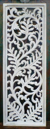 Bali French Provincial Hand Carved Wooden Antique White Panel Bed Head Screen