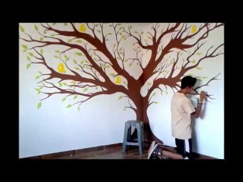 Como pintar un arbol drawing a tree videos painting - Como pintar dibujos en la pared ...