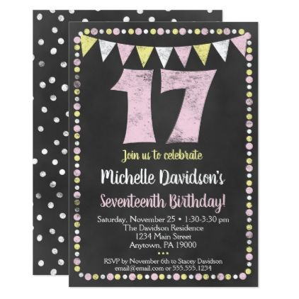 #Pink Yellow Chalkboard 17th Birthday Invitation - #birthday #gifts #giftideas #present #party