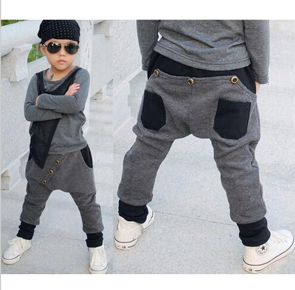 2017 New Fashion Children's Clothing Harem Hip Hop Dance Pants Panelled Spliced Sweatpants Pockets kids Boys Punk sports trouser #Affiliate
