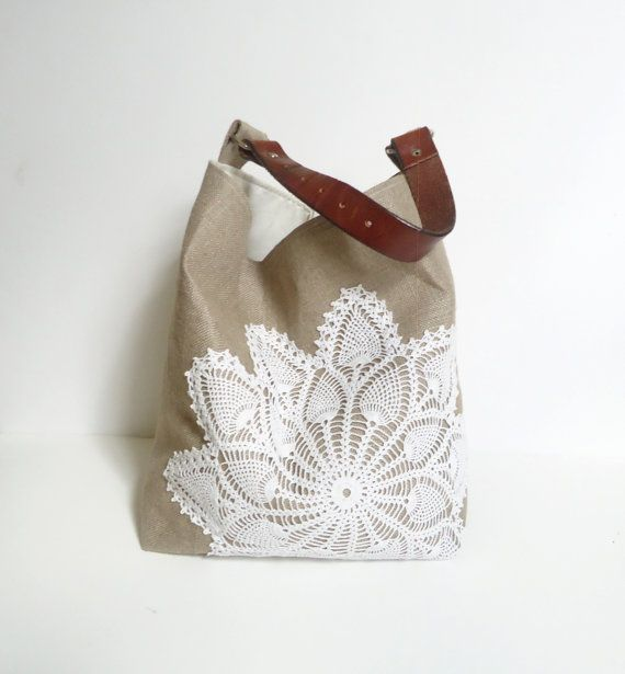 Hey, I found this really awesome Etsy listing at https://www.etsy.com/listing/158718500/hobo-bag-linen-burlap-and-vintage-doily