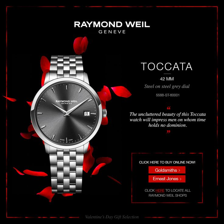 The uncluttered beauty of this 42mm Toccata watch will impress men on whom time holds no dominion. (Ref: 5588-ST-60001)  Buy online now at our official retailers!  Goldsmiths - http://rwg.li/1uyyi04 Ernest Jones - http://rwg.li/1BhVAq7