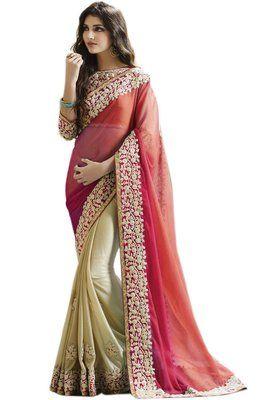 Sanaya Half Half Pink Bollywood Designer Beautiful Sarees Bollywood Sarees Online on Shimply.com