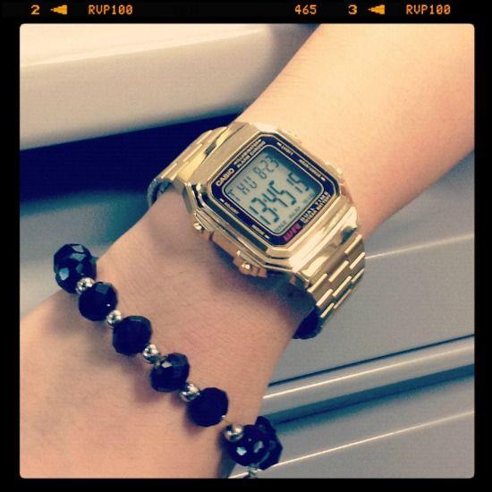 gold retro classic casio digital watch