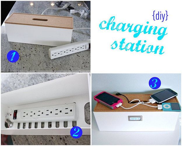 A DIY charging station will resolve the battles over outlets.   27 Home Decor Hacks Every Twentysomething Should Know