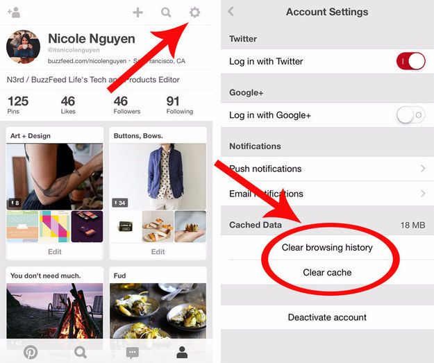 Is your iPhone storage full? Clear your Pinterest app's cached data. | 21 Tips To Make The Most Of Pinterest