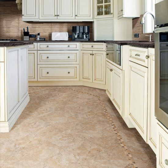 Love The Kitchen Cabinet Color! Details: Photo Features Temple Beige 18 X  18 On The Floor.