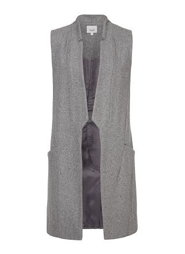Wool blend Longline Vest. Comfortable yet neat fitting sleeveless silhouette features a tailored body, reversed lapel with side pockets and longline hem. Available in Light Grey marle as shown.