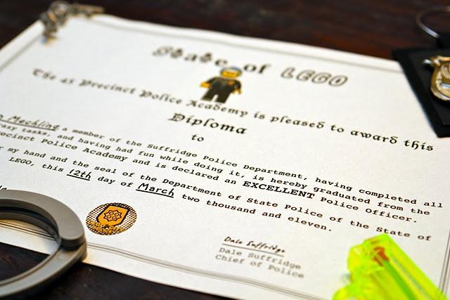 LEGO City Police Diploma - Fun Lego City birthday ideas
