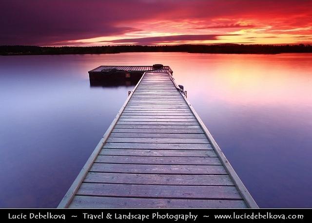 "Finland - Lapland - Midnight Sun at Inari Lake - ""Sunrise at 1am""  www.luciedebelkov..."