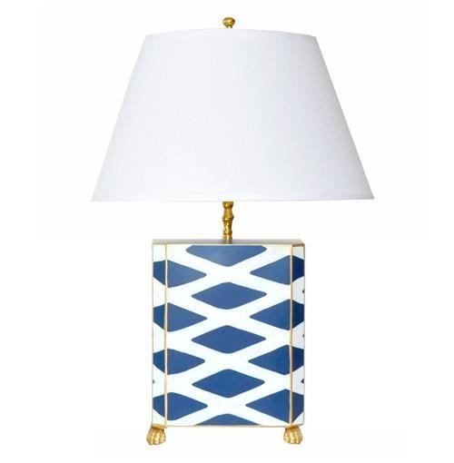 Agar Hand Painted Diamond Gold Navy Table Lamp