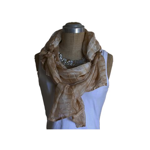 Few scarves out there are made not just with love but also with a higher purpose of being eco friendly. This beautiful ultra feminine long scarf measures 168 by 90cm is edged with pure satin silk ribbon and is tied to allow for easy shaping around the neck. It is a beautiful fawn colour. Pair it up with your favourite pair of jeans and voila you look and feel maginificent!   Take care of your skin Take care of your environment. GCECO SHOP uses only natural dyes in the making of its creations