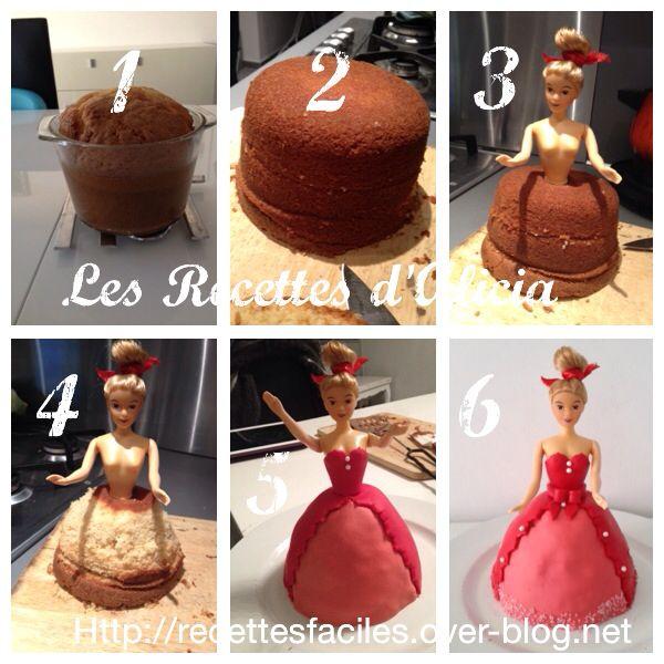 Etapes du gâteau barbie : Gâteau poupée en pâte à sucre, molly cake ganache chocolats de fête fait en janvier dernier.  Recettes et tutoriel sur le blog. Cakebirthday gâteau anniversaire enfant fille, poupée barbue,  princessd