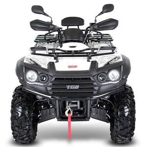 Frontal view of white 600 SL farm quad. The TGB farm quad range offers an excellent choice of specifications and value for money. For more information or a quotation, please visit our website http://www.fresh-group.com/farm-quad.html or call us on 0845 3731 832
