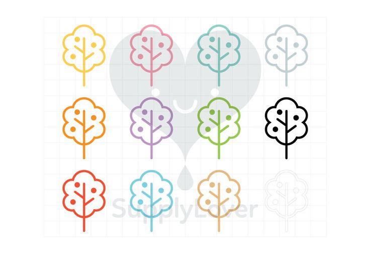 APPLE TREE Clip-Art Commercial Use, Tree, Fruit, Nature, Line, Garden, Stroke, Symbol, Icon, Bush, Foliage, 12 Colors - B0081