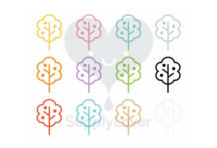APPLE TREE Clip-Art Commercial Use, Tree, Fruit, Nature, Line, Garden, Stroke, Symbol, Icon, Bush, Foliage, 12 Colors - B0081