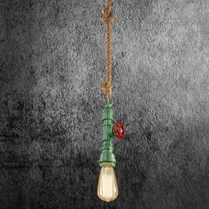 Kreatívne lanové závesné svietidlo v tvare priemyselného potrubia v zelenej farbe