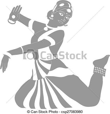Vector - Indian dancer - stock illustration, royalty free illustrations, stock…