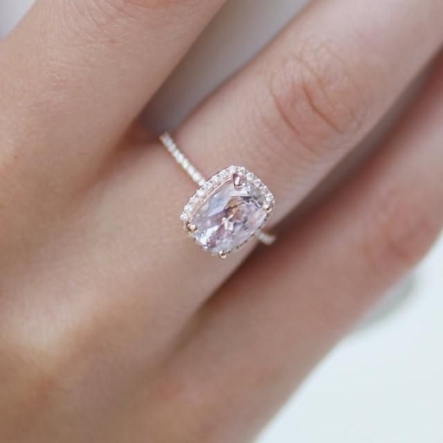297ct cushion lavender peach champagne sapphire 14k rose gold diamond ring engagement ring 3300 - Engagement Ring And Wedding Ring