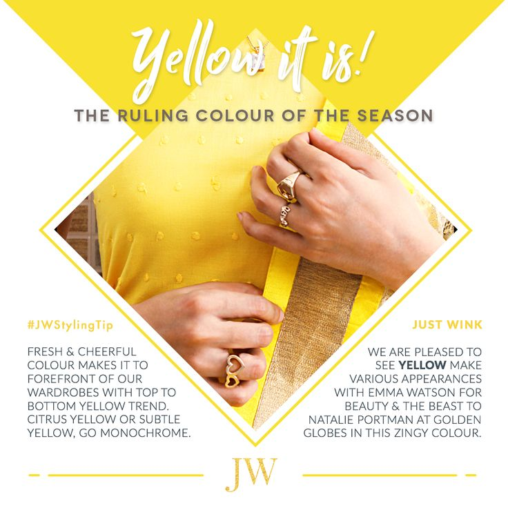 #JWstylingtip : Up for some yellow drama? Then opt for all yellow trend this spring summer 2017