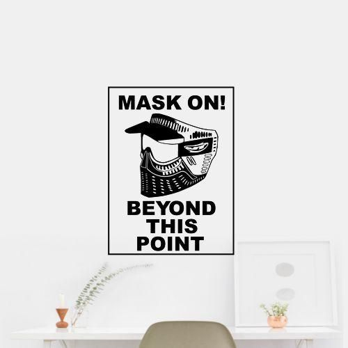 Mask On! Beyond this Point Wall Art Car Sticker Decal. OUTDOOR VINYL MATERIAL SPECS: 5 - YEAR WEATHER RESISTANT OUTDOOR VINYLOutdoor Durability: 5 years (3 years gold and silver) when properly applied (vertical exposure (90°± 10°), unprinted film). Warranty coverage is defined as no appreciable deterioration in the product. Cracking, crazing, blistering or loss of adhesion constitutes a breach of warranty if it occurs during the stated life of the product. Description Exclusively from…