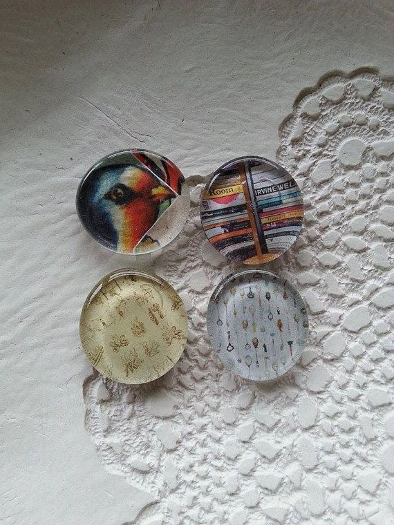 Set 4 Recycled Paper Glass Magnets Retro Set by Pennylanecraft, $7.50
